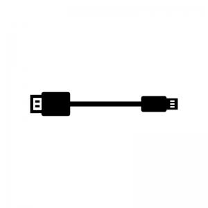 USBケーブルの白黒シルエットイラスト