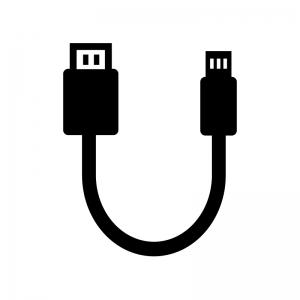USBケーブルの白黒シルエットイラスト02