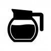 コーヒーポットの白黒シルエットイラスト