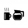 コーヒーとコーヒーポットの白黒シルエットイラスト