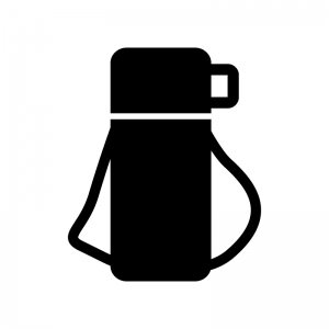 水筒の白黒シルエットイラスト