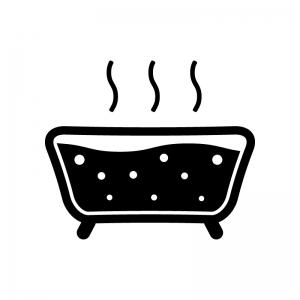泡風呂の白黒シルエットイラスト