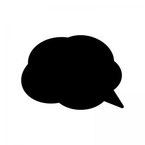 クラウド吹き出しの白黒シルエットイラスト