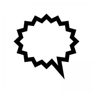 爆発吹き出しの白黒シルエットイラスト02