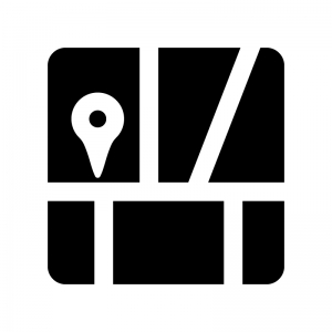 地図アイコンの白黒シルエットイラスト
