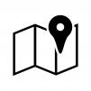 地図アイコンの白黒シルエットイラスト02