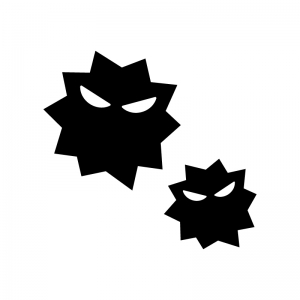 ウイルス菌の白黒シルエットイラスト