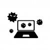 パソコンとウイルス菌の白黒シルエットイラスト