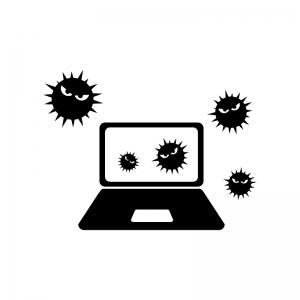 パソコンとウイルス菌の白黒シルエットイラスト02