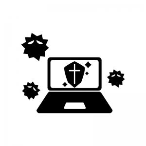 パソコンとウイルスガードの白黒シルエットイラスト