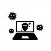 パソコンとウイルスガードの白黒シルエットイラスト02