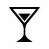 ショートグラスカクテルの白黒シルエットイラスト