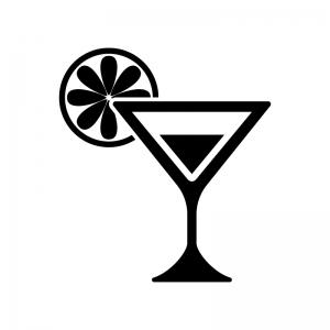 フルーツ付きショートグラスカクテルの白黒シルエットイラスト