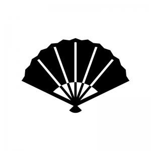 扇子の白黒シルエットイラスト