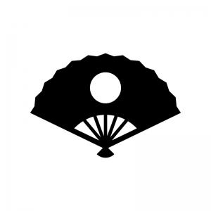 日の丸の扇子の白黒シルエットイラスト