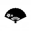 花の扇子の白黒シルエットイラスト