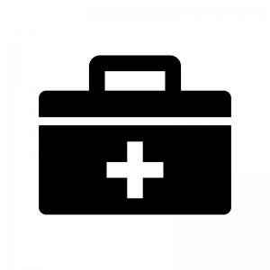 救急箱の白黒シルエットイラスト