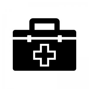 救急箱の白黒シルエットイラスト02