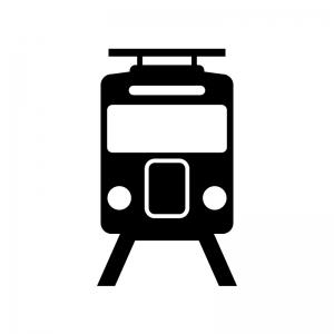 正面の電車の白黒シルエットイラスト