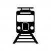 線路と電車の白黒シルエットイラスト