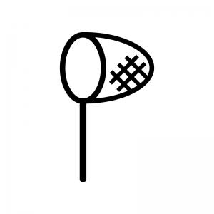 虫取り網の白黒シルエットイラスト02