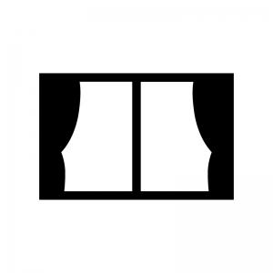 窓ガラスとカーテンの白黒シルエットイラスト