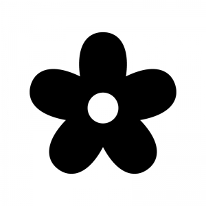 花の白黒シルエットイラスト
