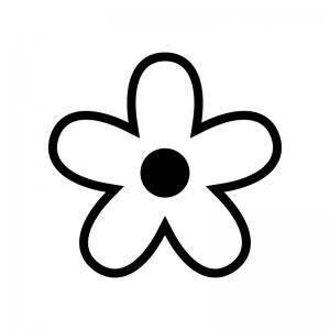 花の白黒シルエットイラスト02