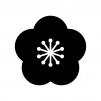 梅の花の白黒シルエットイラスト
