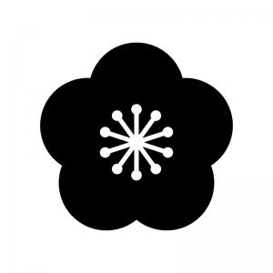 梅の花のシルエット 無料のaipng白黒シルエットイラスト
