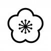 梅の花の白黒シルエットイラスト02