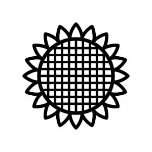 ひまわりの白黒シルエットイラスト02