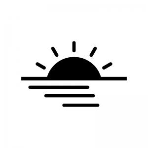 海に沈む太陽の白黒シルエットイラスト
