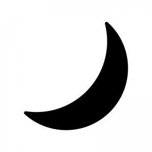 三日月の白黒シルエットイラスト