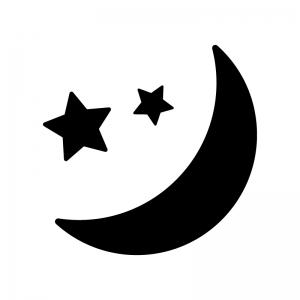 三日月と星の白黒シルエットイラスト