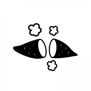 ホクホクの焼いもの白黒シルエットイラスト