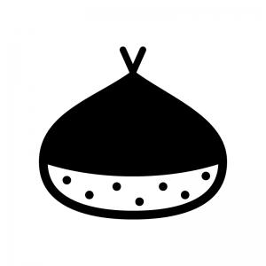 栗の白黒シルエットイラスト