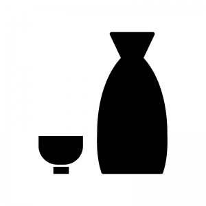 日本酒の白黒シルエットイラスト