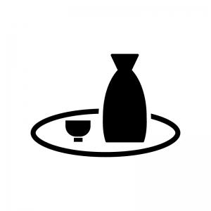 お盆に乗った日本酒の白黒シルエットイラスト