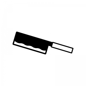 中華包丁の白黒シルエットイラスト