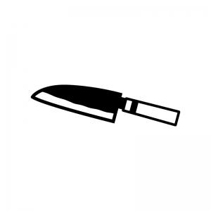 出刃包丁の白黒シルエットイラスト