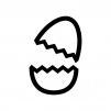 割れた卵の白黒シルエットイラスト