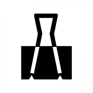 ダブルクリップの白黒シルエットイラスト
