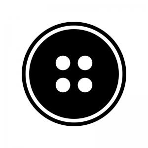 ボタンの白黒シルエットイラスト