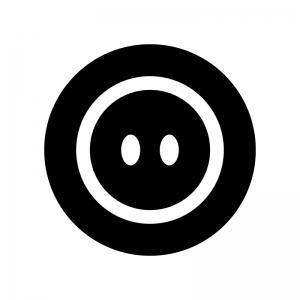 2つ穴のボタンの白黒シルエットイラスト