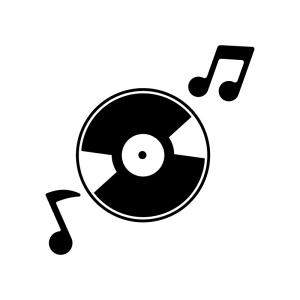 CDと音符の白黒シルエットイラスト