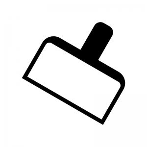 四角いチリトリの白黒シルエットイラスト