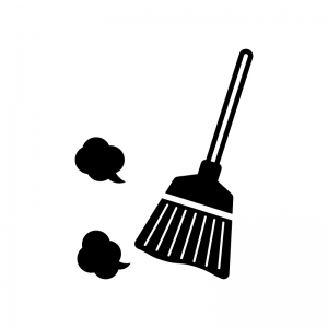 ホウキ掃除の白黒シルエットイラスト