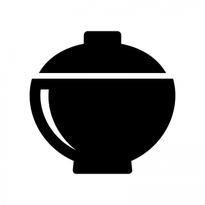蓋付きお椀の白黒シルエットイラスト