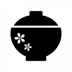 花柄の蓋付きお椀の白黒シルエットイラスト